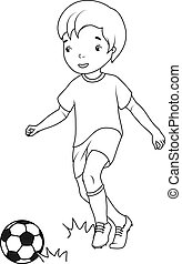 Coloring book: boy playing soccer