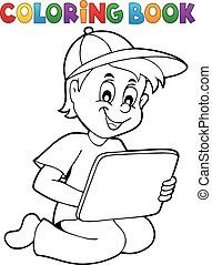 Coloring book boy playing with tablet
