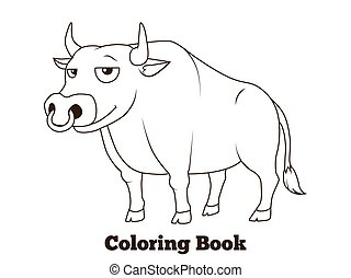 Coloring book bull cartoon educational