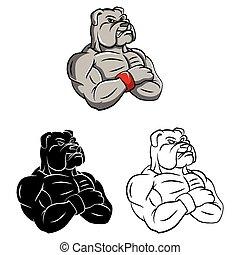 Coloring book Bulldog strong cartoon character - vector illustration .EPS10