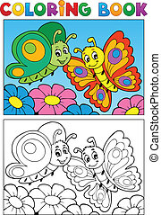 Coloring book butterfly theme 1
