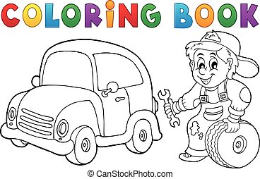 Coloring book car mechanic