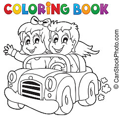 Coloring book car theme 1 - eps10 vector illustration.