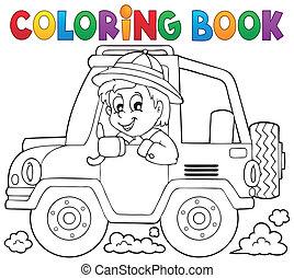 Coloring book car traveller theme 1