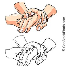 Coloring book Care Hand character