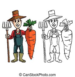 Coloring book Carrot character - Coloring book Carrot...