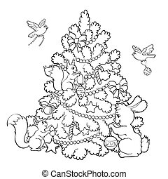 Coloring book. Cartoon animals decorate the Christmas Tree.