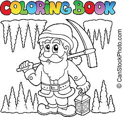 Coloring book cartoon dwarf miner