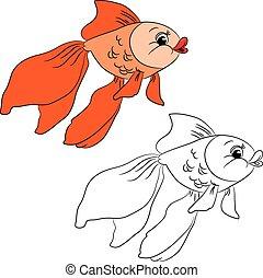 Coloring book. Cartoon goldfish
