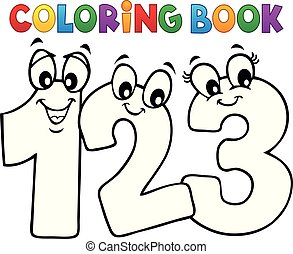 Coloring book cartoon numbers image 1