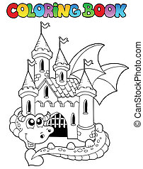 Coloring book castle and big dragon - vector illustration.