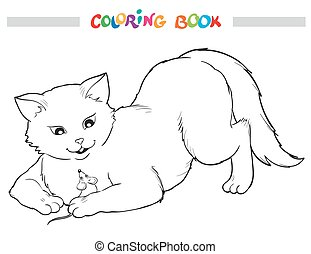 Coloring Book. Cat and mouse.