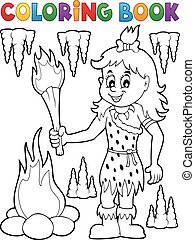 Coloring book cave woman