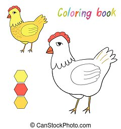 Coloring book chicken kids layout for game
