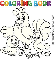 Coloring book chickens and hen theme 1