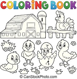 Coloring book chickens and hen theme 2