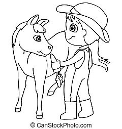 Coloring book child feeding horse v