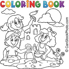 Coloring book children and sand castle - eps10 vector...