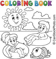Coloring book children in swim rings