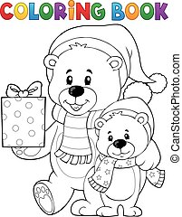 Coloring book Christmas bears theme 1 - eps10 vector...
