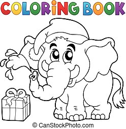 Coloring book Christmas elephant