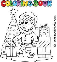 Coloring book Christmas elf theme 1 - vector illustration.