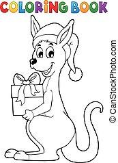 Coloring book Christmas kangaroo