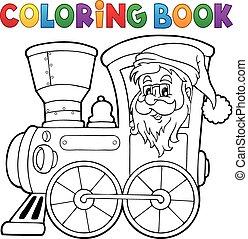 Coloring book Christmas locomotive 1