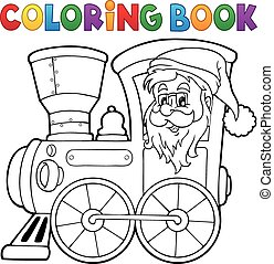 Coloring book Christmas locomotive 1
