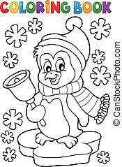Coloring book Christmas penguin topic