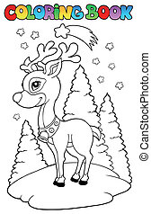 Coloring book Christmas reindeer 2 - vector illustration.