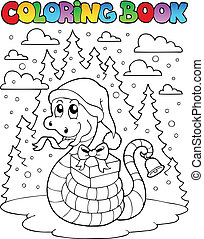 Coloring book Christmas snake 1 - vector illustration.