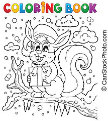 Coloring book Christmas squirrel 1 - eps10 vector...