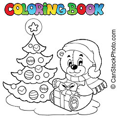 Coloring book Christmas teddy bear - vector illustration.