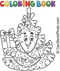 Coloring book Christmas tree topic 1 - eps10 vector...