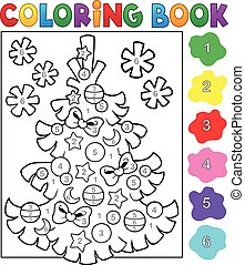 Coloring book Christmas tree topic