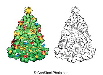 Coloring Book Christmas Tree With Decorations Card Concept