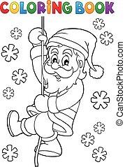 Coloring book climbing Santa Claus