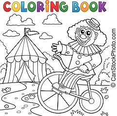 Coloring book clown near circus theme 3