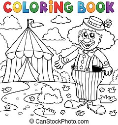 Coloring book clown near circus theme 5 - eps10 vector...