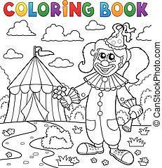 Coloring book clown near circus theme 7 - eps10 vector illustration.