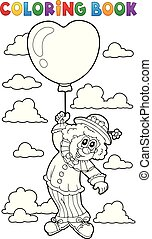 Coloring book clown with balloon
