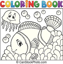 Coloring book clownfish topic 2