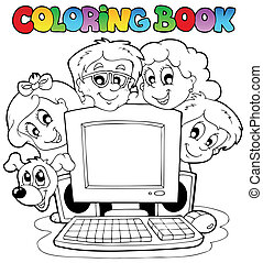 Coloring book computer and kids - vector illustration.