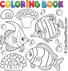 Coloring book coral fish theme 1 - eps10 vector...