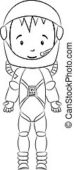 Coloring book: Cosmonaut cartoon character
