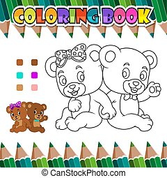 Coloring book couple romantic bear