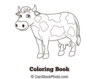 Coloring book cow cartoon educational illustration