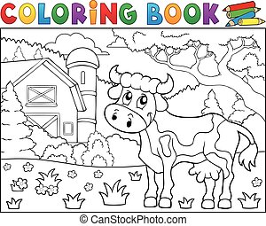 Coloring book cow near farm theme 1