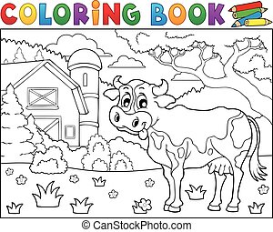 Coloring book cow near farm theme 2 - eps10 vector...